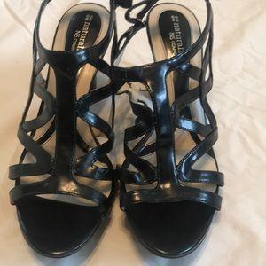 Black heels with Velcro strap